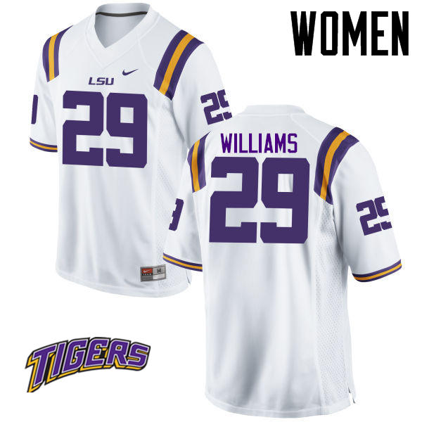 Women's #29 Andraez Williams LSU Tigers College Football Jerseys-White